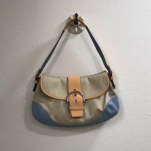 Coach multicolor leather canvas shoulder bag purse